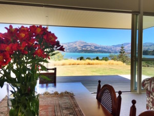 L'abri  dining room looking over Akaroa Harbour