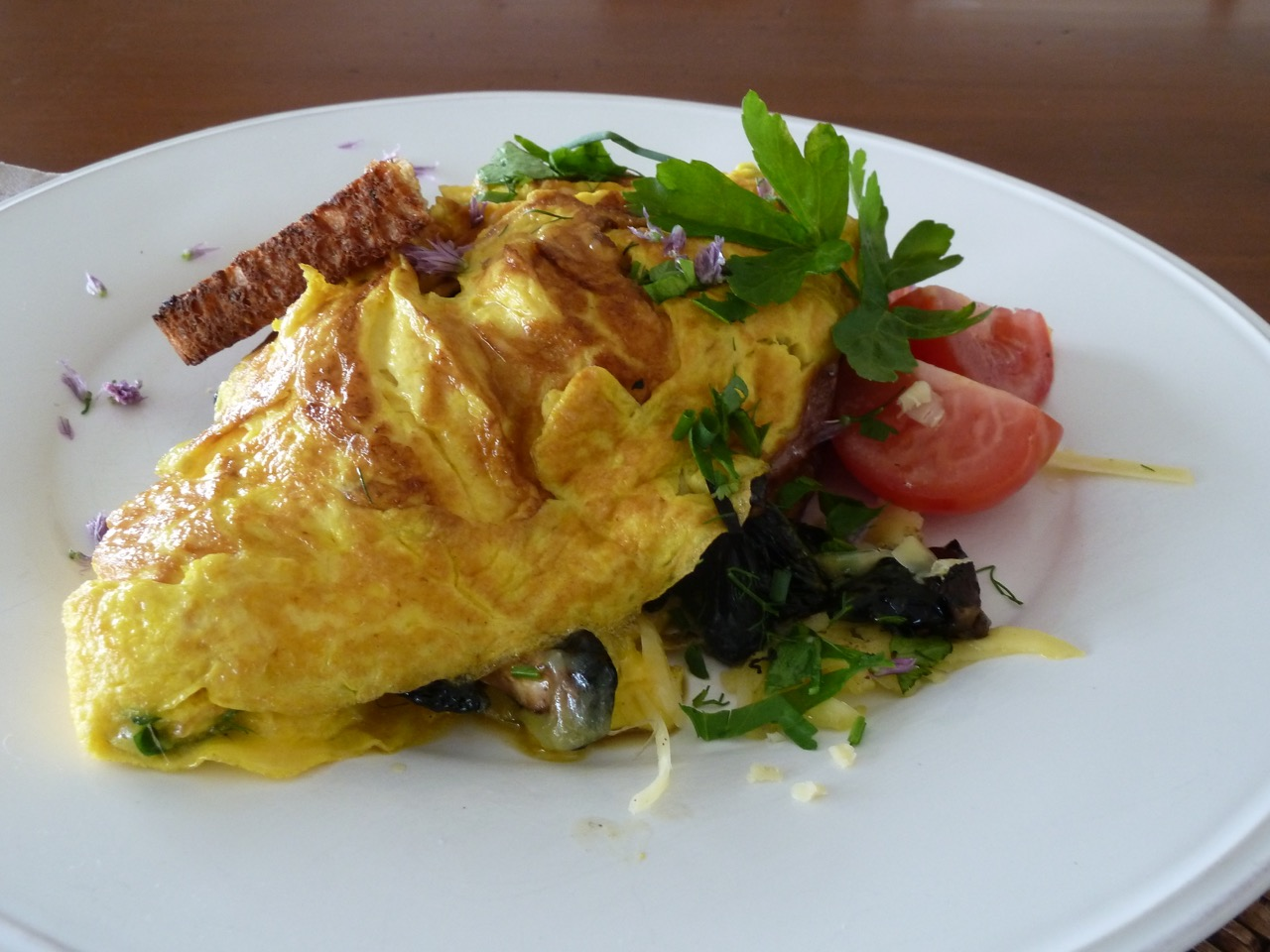 French Omelette at L'abri B&B Freshly cooked from local free range eggs